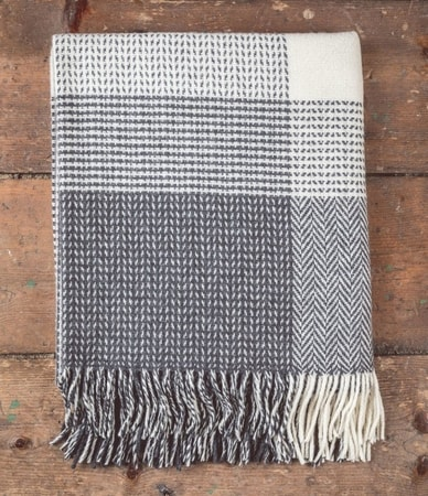 Grey & White, Lambswool - Cashmere Blanket Ireland