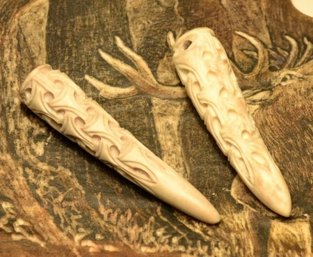 VIKING ART STYLE, well carved pednant, antler