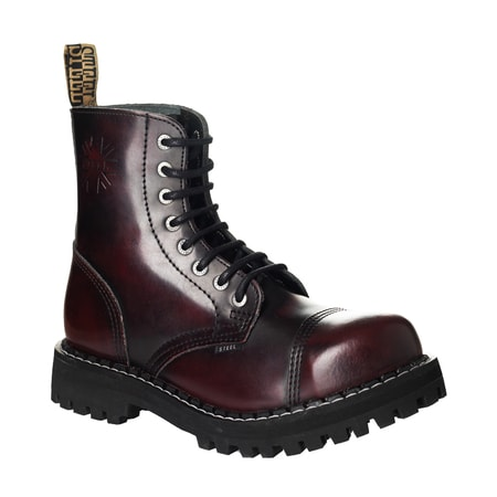 Leather boots STEEL burgundy 8-eyelet-shoes