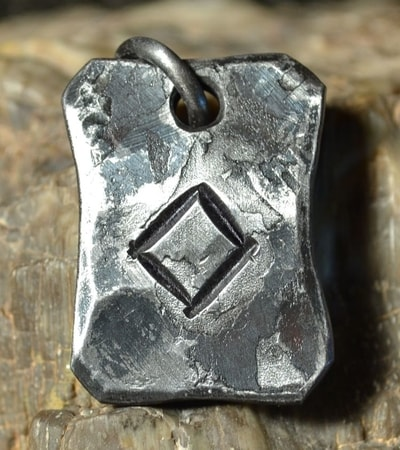 INGWAZ, forged iron rune pendant