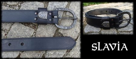 SLAVIA, exclusive leather belt with silver Moravian stud