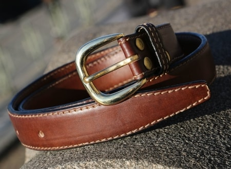 ERCOLE, BUSINESS LEATHER BELT, BROWN
