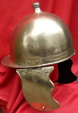 CELTIC - ROMAN HELMET, TYPE OF MONTEFORTINO, BRASS, COLLECTIBLE REPLICA