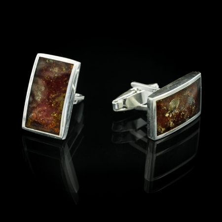 Cufflinks, Silver and Amber