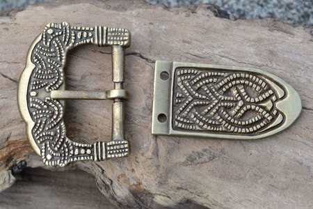 VIKING BUCKLE AND STRAP END, GOKSTAD, NORWAY, ZINC, REPLICA