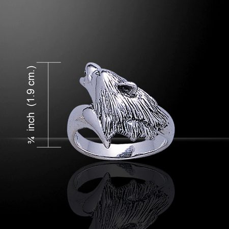 Snarling WOLF, silver ring, Ag 925