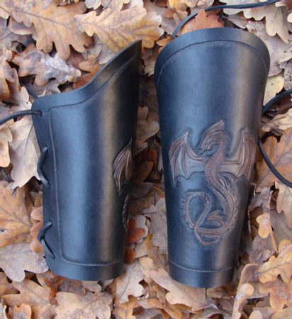 LEATHER BRACERS with DRAGONS DRAGONISH LEATHER PRODUCTS