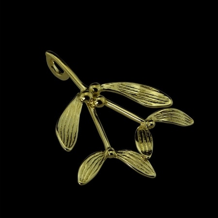 DRUID CELTIC MISTLETOE, PENDANT, 14K GOLD