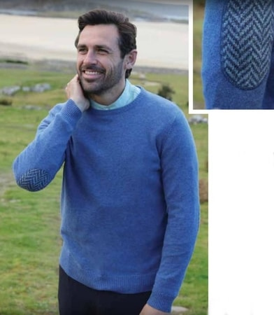 ARAN MERINO WOOL CREW NECK SWEATER, MEN'S, BLUE