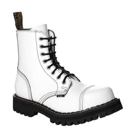 LEATHER BOOTS STEEL WHITE FULL 8-EYELET-SHOES
