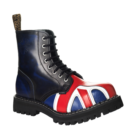 LEATHER BOOTS STEEL BRITISH FLAG 8-EYELET-SHOES