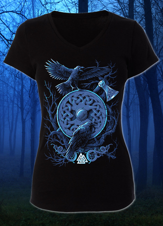 HUGINN AND MUNINN, VIKING RAVENS LADIES' T-SHIRT
