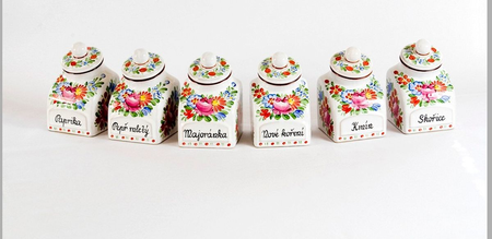 SPICE JAR CONTAINER, TRADITIONAL CERAMICS FROM SOUTH BOHEMIA - 1 PIECE