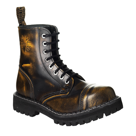 LEATHER BOOTS STEEL YELLOW 8-EYELET-SHOES