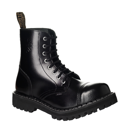 LEATHER BOOTS STEEL BLACK 8-EYELET-SHOES