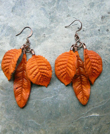 ORANGE LEAVES, LEATHER EARRINGS