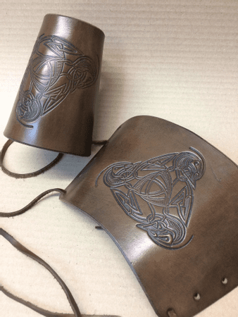 VIKING, LEATHER BRACERS - PAIR