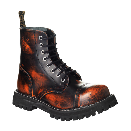 LEATHER BOOTS STEEL ORANGE 8-EYELET-SHOES