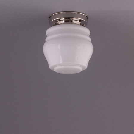 FLOWER BUD CEILING LAMP, NICKLE ROUND FIXTURE