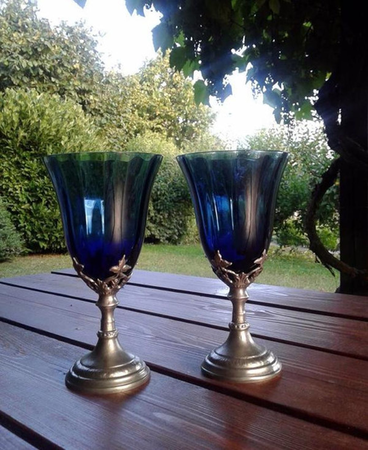 BLUE HUE, GOBLET, BLUE GLASS AND PEWTER
