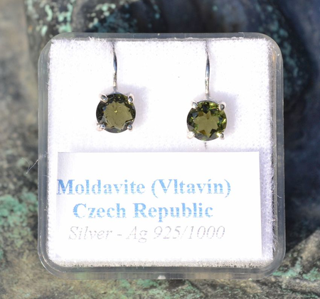 ARIETIS, STERLING SILVER EARRINGS WITH MOLDAVITE