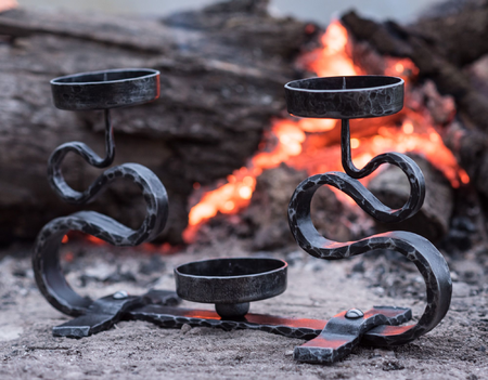 FORGED CANDLEHOLDER, DOUBLE ARM