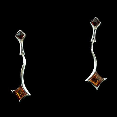 WARTA, AMBER, EARRINGS, STERLING SILVER