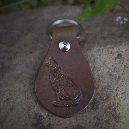 HOWLING WOLF, KEYRING, LEATHER