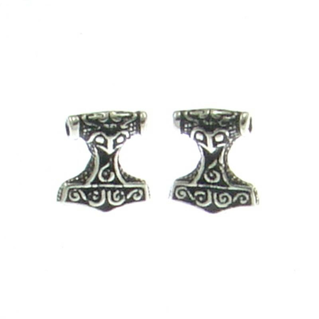 THOR'S HAMMER, EAR STUDS, STERLING SILVER