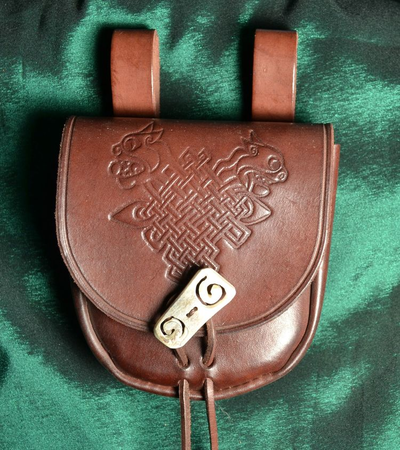 LEATHER BELT BAG WITH CELTIC BEASTS, BONE BUTTON, BROWN
