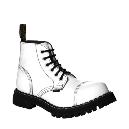 LEATHER BOOTS STEEL WHITE FULL 6-EYELET-SHOES