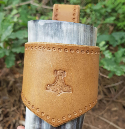 THOR'S HAMMER, LEATHER DRINKING HORN HOLDER, BROWN
