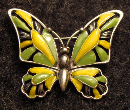 BUTTERFLY, GREEN, COSTUME BROOCH