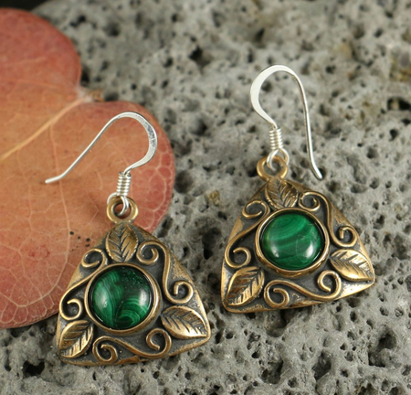 LEAVES - EARRINGS, BRONZE, MALACHITE