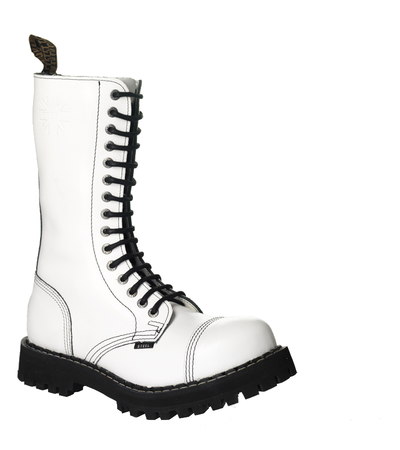 LEATHER BOOTS STEEL WHITE FULL 15-EYELET-SHOES