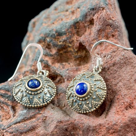 ISOLDA, LAPIS, BRONZE EARRINGS