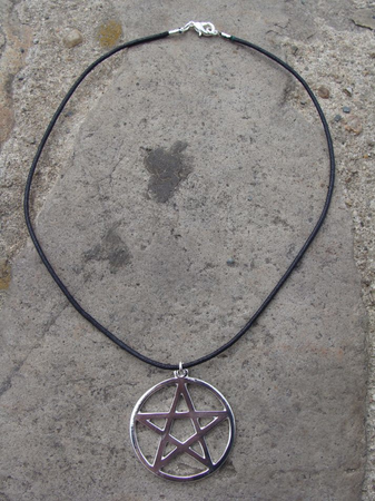 PENTACLE OR PENTAGRAM PENDANT ON LEATHER CORD