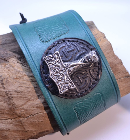 VIKING LEATHER BRACELET, THOR'S HAMMER OSEBERG