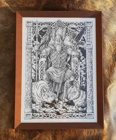 ODIN ON THE THRONE, FRAMED PICTURE