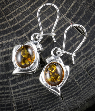 DANICA, YELLOW AMBER, EARRINGS, STERLING SILVER