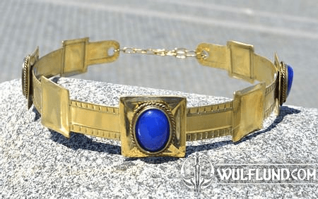 ARTHUR, NOBLE MEDIEVAL BRASS CROWN, BLUE AGATE