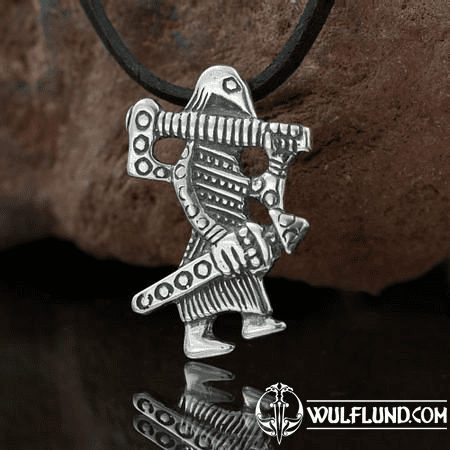 VIKING WARRIOR, KLAHAMMAR, REPLICA, SILVER PENDANT