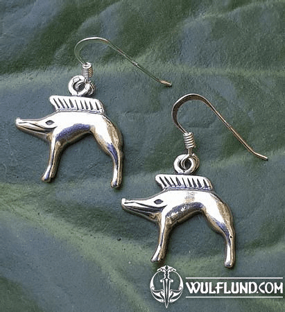 WILD BOAR, EARRINGS, SILVER
