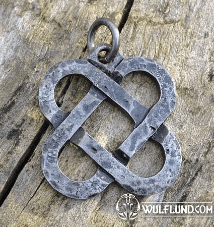TWO HEARTS, FORGED CELTIC KNOTTED PENDANT, STEEL