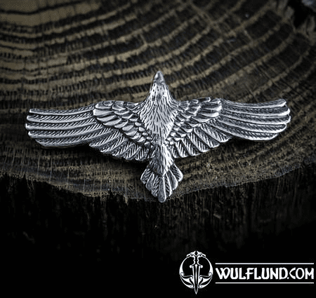 FLYING CROW - RAVEN PENDANT, STERLING SILVER