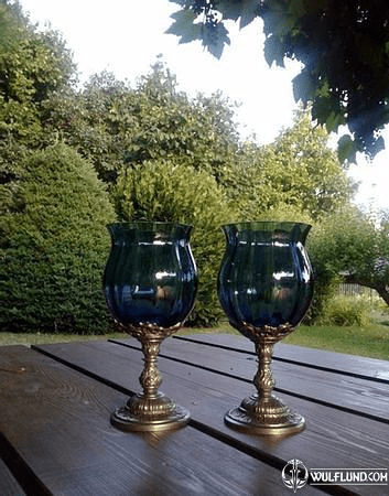 BLUE HUE, GOBLET 150 ML, BLUE GLASS AND PEWTER