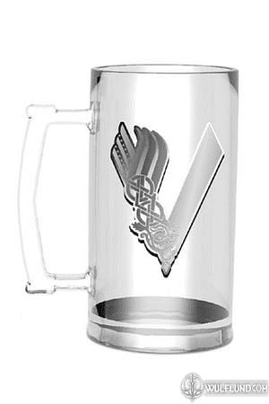 VIKINGS STEIN BEER MUG WITH LOGO, GLASS, 0.5 L