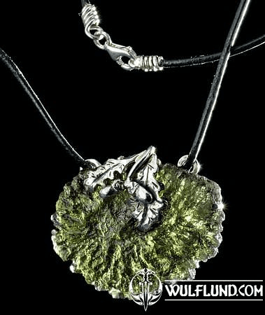 QUERCUS, OAK LEAF, NECKLACE, MOLDAVIT SILVER