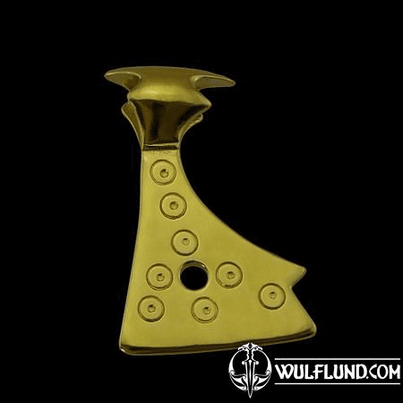 AXE OF PERUN, SLAVIC PENDANT, 14K GOLD