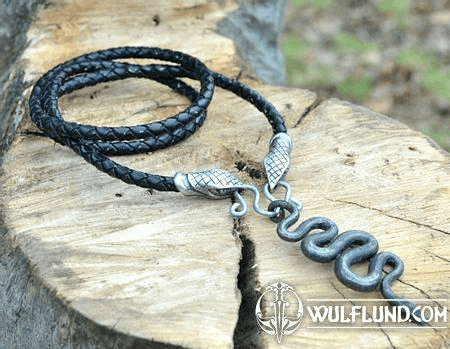 BLACK SNAKE, FORGED PENDANT, LEATHER BOLO